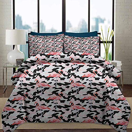 Juego de funda nórdica de ropa de cama Juego de funda nórdica peluda de lujo de camuflaje Juego de cama de 3 piezas decorativo con estampado de flamenco rosa acuarela Fondo de camuflaje inspirado en l