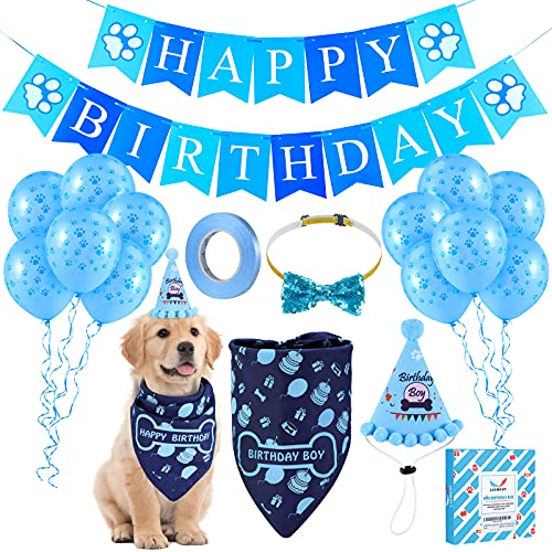 LIGNEST 16 PCS Dog Birthday Party Supplies Set - Dog Birthday Bandana Set with Dog Birthday Hat, Scarf, Flag, Baloons, and Cute Puppy Bow Tie for Small, Medium & Large Dogs (Blue)