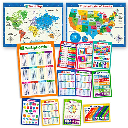 11 Math Posters & United States Map and World Map for Kids