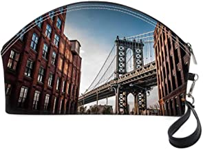 NYC Decor Small portable cosmetic bag,Manhattan Bridge Seen from a Narrow Alley Island Borough Globally Influential Town NYC Photo for Women,10.8