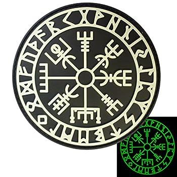 LEGEEON Glow Dark Vegvisir Viking Compass Norse Rune Morale Tactical PVC Rubber 3D Fastener Patch