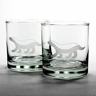 HONEY BADGER Lowball Glasses set of 2 - Dishwasher-safe etched whiskey glass