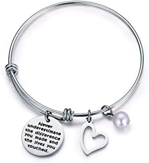 Never Underestimate The Difference You Made and The Lives You Touched Bracelet,Thank You Gift,Inspirational Gifts for Women