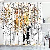 ABAKUHAUS Hirsch Duschvorhang, Autumn Forest Wildlife, mit 12 Ringe Set Wasserdicht Stielvoll Modern Farbfest & Schimmel Resistent, 175 x 180 cm, Orange Grün & Weiß