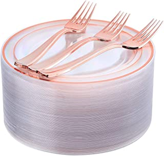Rose Gold Plates 72 Pieces & Plastic Forks 72 Pieces, Small Cake Plates 7.5 inch, Premium Plastic Dessert Plates and Disposable Appetizer Plates Great for Party and Wedding