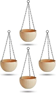 Oshi Greens Hanging Flower Pots with Hanging Iron Chain Pack of 4