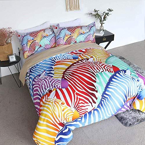 Dvvseso 3D Duvet Cover Set Single size Colored abstract animal zebra Bedding Set Teen Bedding Home Dormitory Bedroom, 135 x 200 cm -Simple duvet cover for bedding