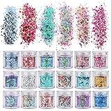 ANDERK Olografica Brillantini per Unghie Polvere Glitter Polvere Glitterata, 12 Colori Chunky Glitter Unghie per il Corpo, a Forme per Unghie Art Decorazioni Trucco del Viso e Artigianato