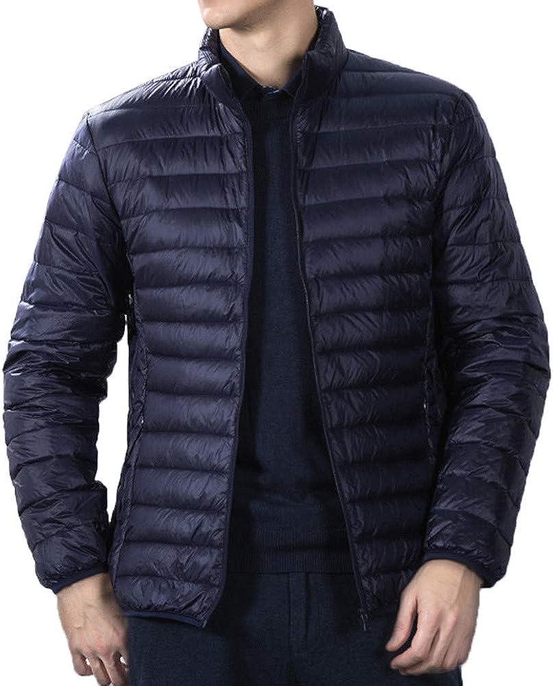 Men Autumn Casual Daily Tops Men's Fashion Winter Pure Color Foldable Stand Collor Cotton Down Jacket Coat