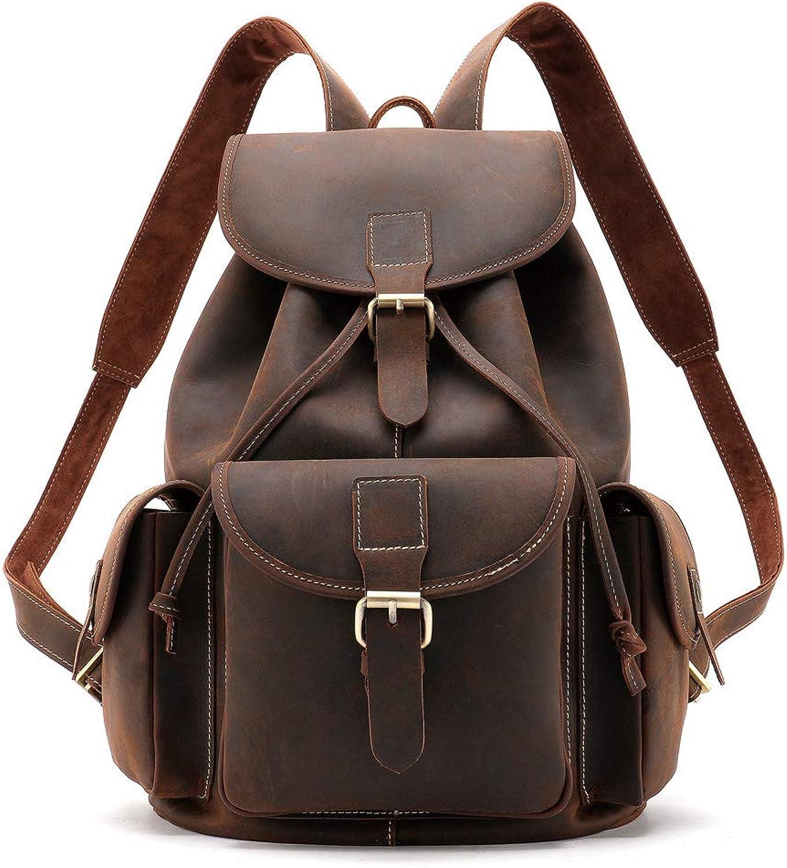Large Genuine Leather Backpack for Laptop Travel roll top Rucksack for Men Women