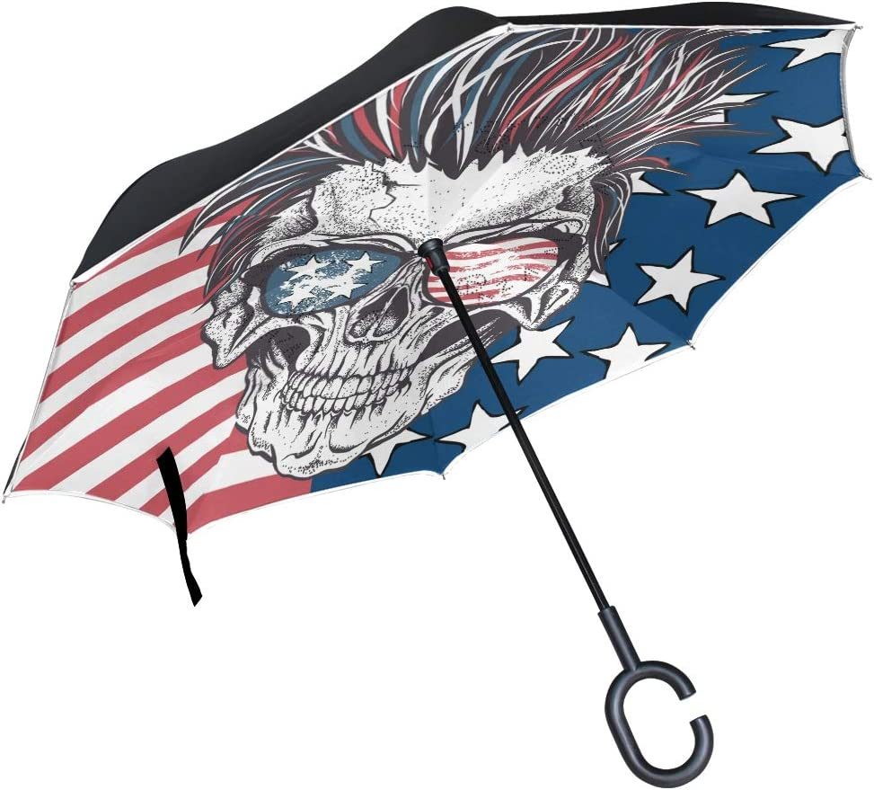 Spring new work one after another senya Reverse Inverted Windproof Umbrella with Skull Fl American Safety and trust
