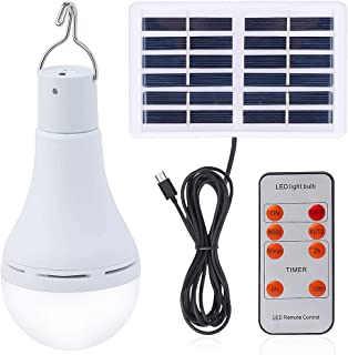 Solar Light Bulb Outdoor Portable Rechargeable Solar lamp Lights for Home Yard Patio Umbrella Chicken Coop Pet House Black...