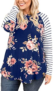 OHDREAM Womens Plus Size Raglan Shirts Long Sleeve Floral Top Striped Tshirt Tunic with Elbow Patch