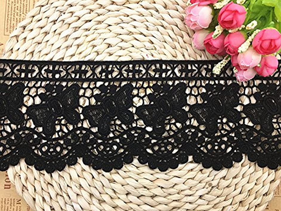11CM Width Europe Butterfly Pattern Inelastic Embroidery Lace Trim,Curtain Tablecloth Slipcover Bridal DIY Clothing/Accessories.(4 Yards in one Package) (Black)