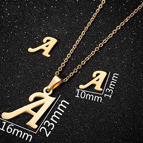 Yiffshunl Collier Mode A - Petites Lettres initiales en Acier Inoxydable personnalisé Boucles d'oreilles Alphabet Bijoux de Tous Les Jours Demoiselles d'honneur