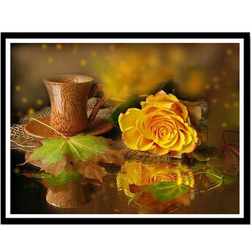 BeautyShe 7d Diamond Painting Kits for Adults Kids Set Yellow Rose Full Drill Diamond for Home Wall Decor