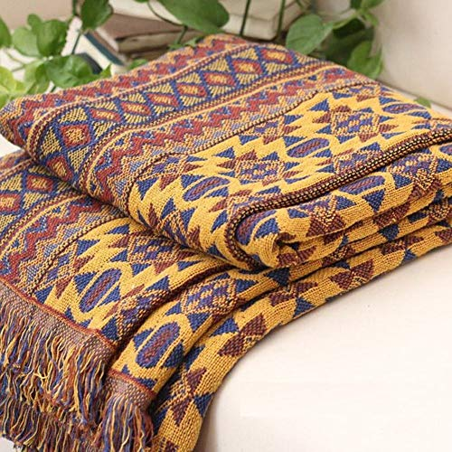 KIOPS Reversible Sofa Throw Blanket with Tassels, 90 x 180cm, 100% Handwoven Cotton Knitted Aztec Armchair Throw for Couch, Sofa, Bed, Bohemian Beach Blanket, Decor for Meditation Yoga Center Bedroom