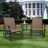 Outdoor Swing Glider Patio Chair,Outdoor Sling Fabric 3-Piece Double Glider Rocker Chairs with Table,Single Patio Bench for Garden, Porch, Backyard, Poolside, Lawn Rocking Chair