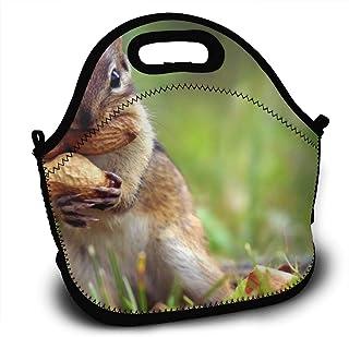 落花生を食べるリス ランチバッグ 大容量弁当バッグ トートバッグ 手提げバッグ お弁当入れバッグ 面白い 通勤 通学 バッグ 可愛い 創意柄