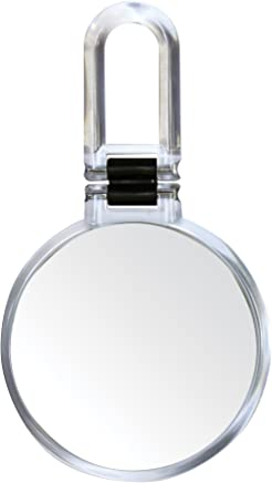 Danielle Folding Makeup Mirror with Handle/Stand,  10X Magnification,  Clear Acrylic