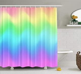 LILYMUA Watercolor Mermaid Shower Curtain, Rainbow Wave Mermaid Galaxy Pastel Pink Blue Green Fabric Bathroom Shower Curtain Polyester Bath Curtain Art Waterproof Bathroom Decor 72x78 Inch,Sea Green