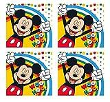 4 toallas de invitados para niños, 30 x 30 cm, 100 % algodón, gran regalo, Mickey Mouse