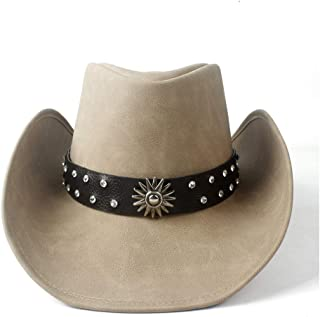 Fashion Hats, Caps,Elegant Hats, Natural Caps Leather Cowboy Hat Unisex Women Men Western Cowboy Hat with Punk Leather Ribbon Lady Dad Cowgirl Sombrero Jazz Cap (Color : Tan, Size : 58-59)