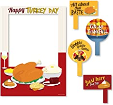 Big Dot of Happiness Thanksgiving Turkey - Fall Harvest & Thanksgiving Party Selfie Photo Booth Picture Frame & Props - Printed on Sturdy Material