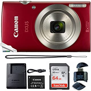 Powershot Ixus 185 / ELPH 180 20MP Compact Digital Camera Red with 64GB Memory Card