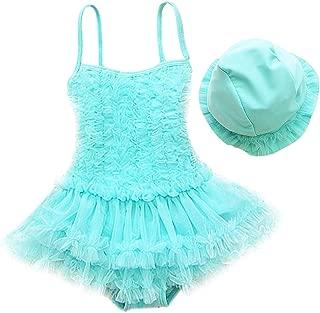 Little Girl Swimsuit with Hat One Piece Ruffle Tulle Skirt Princess Swimwear Beach Bathing Suit 2PCS Set