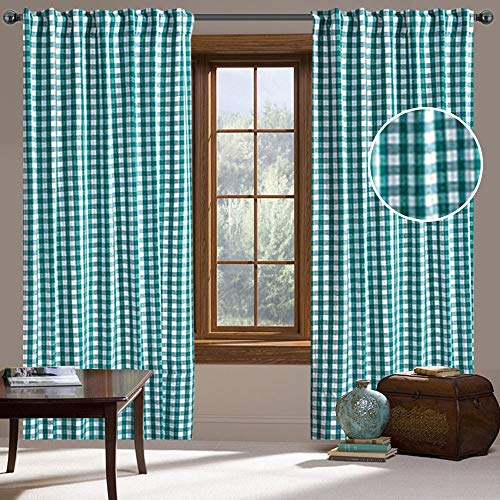 Buffalo Check Curtains Pack of 2 Plaid Gingham Teal & White Panels (50'x108') with Back Tab Rod Pocket for Window, Livingroom, Dining Room, Bedroom, Kitchen, Home Decor, Farmhouse Look_CottonLin