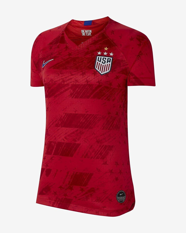 USA 2019 Womens Away Jersey (Red, WM) : Clothing