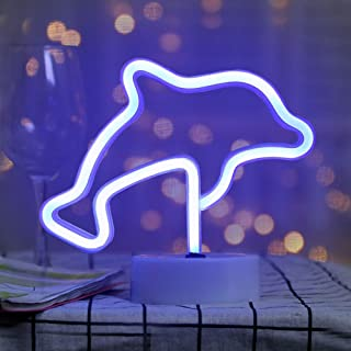 Davids House Dolphin Neon Sign, Blue LED Neon Lights, Beautiful and Cute, USB or Battery Operated Night Light for Bedroom, Living Room, Party, Birthday Decoration