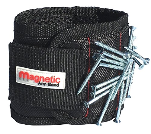 Magnetic Arm Band's Magnetic Wristband - Strong Neodymium Magnets embedded throughout wristband for holding nails, screws, bits, fasteners, washers, bolts, small tools, and much more
