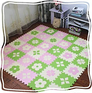 YANGJUN Interlocking Foam Mats Kids Soft Waterproof Odorless Non-slip Easy To Clean Color Mixing Pink White (Color : C, Si...