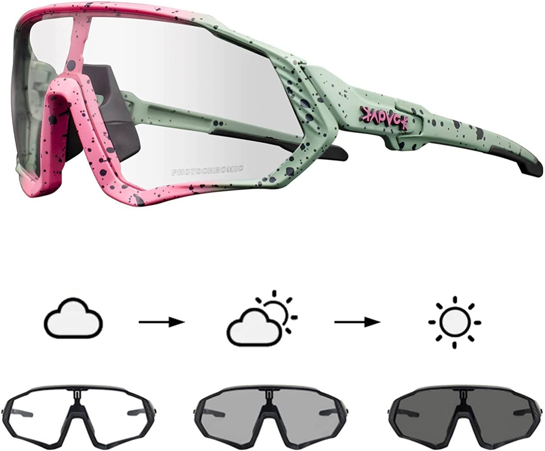 KAPVOE Gafas de Ciclismo Fotocromáticas con TR90 Gafas de Sol Deportivas Mujeres Hombres Running Transparente MTB Accesorios de Bicicleta