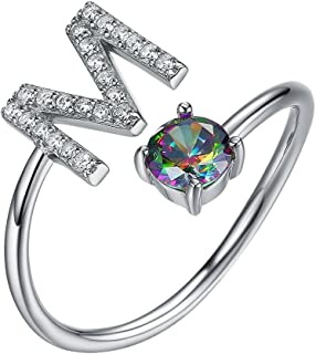 Sterling Silver Ring Alphabet Initial Jewelry Mystic CZ End Open Rings, Letter A to Z