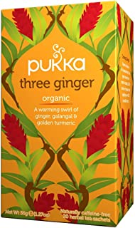 Pukka Herbs Three Ginger, Organic Herbal Tea with Galangal & Turmeric, 20 Tea Bags(Pack of 1)