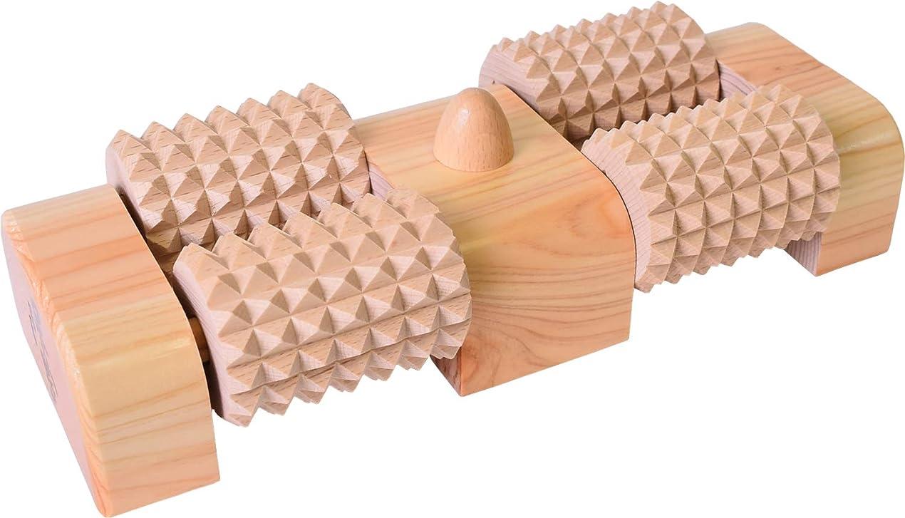 現金百年ルネッサンス木曽工芸 ウッドローラーマッサージャー 足うら思い(W) ツボ押し付き WDM-004