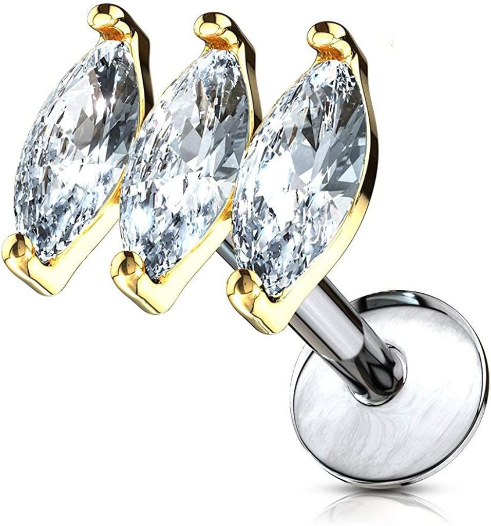 Forbidden Body Jewelry 16g Internally Threaded Surgical Steel Tri-CZ Top Cartilage Stud (Pick Length/Color)