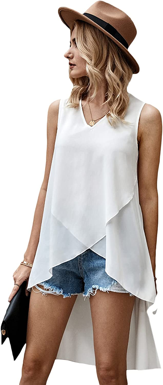 Milumia Women's Sleeveless V Neck High Low Hem Blouse Asymmetrical Wrap Tunic Tank Top