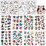 Mattelsen Tatuajes Temporales Niños Niñas Animales Unicornio 12 Hojas Tatuaje Falso Pegatinas Dibujos Animados para Infantiles de Cumpleaños Regalo