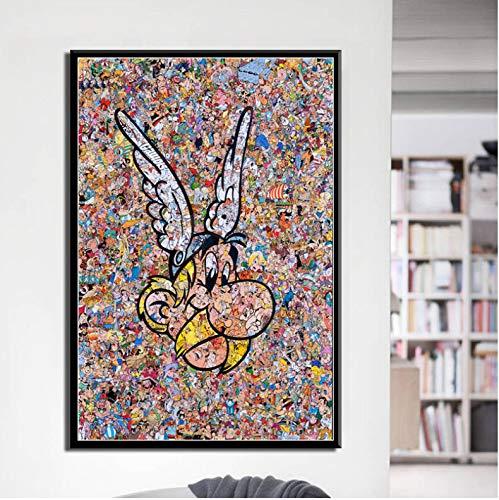 haoziggdeshoop Pintura Clásica De Seda De Arte Cómico De