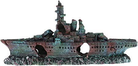 IPOTCH Aircraft Carrier Cave Aquarium Decor Ornament Warship Fish Tank Decorations