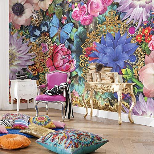 Fototapete 3D Effekt Dekoration Wohnung Modern Wandtattoo Poster Bilder Große Wandbilder Nahtlose Wandtuch Wandbilder Blumen Wie Brokat Spaß Bunte Meri Mello Vor Ort
