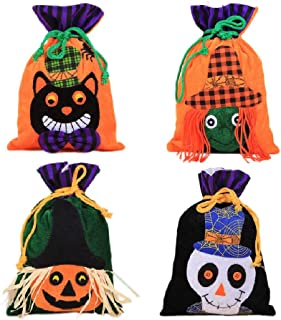 Hoocozi 4Pack Halloween Decoration Candy Bags, Funny Drawstring Goodies Bag Cute Candy Bag for Halloween Party Supplies