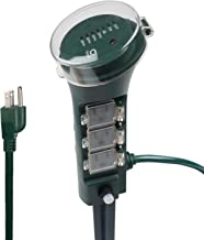 BN-LINK Outdoor Power Strip Yard Stake Timer with Photocell Dusk Till Dawn, or On at Dusk & 2, 4, 6, 8 Hour Countdown, 6 Grounded Outlets 6 ft Cord Weatherproof 1875W/15A ETL Listed