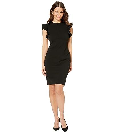 Calvin Klein Ruffle Arm Sheath Dress (Black) Women