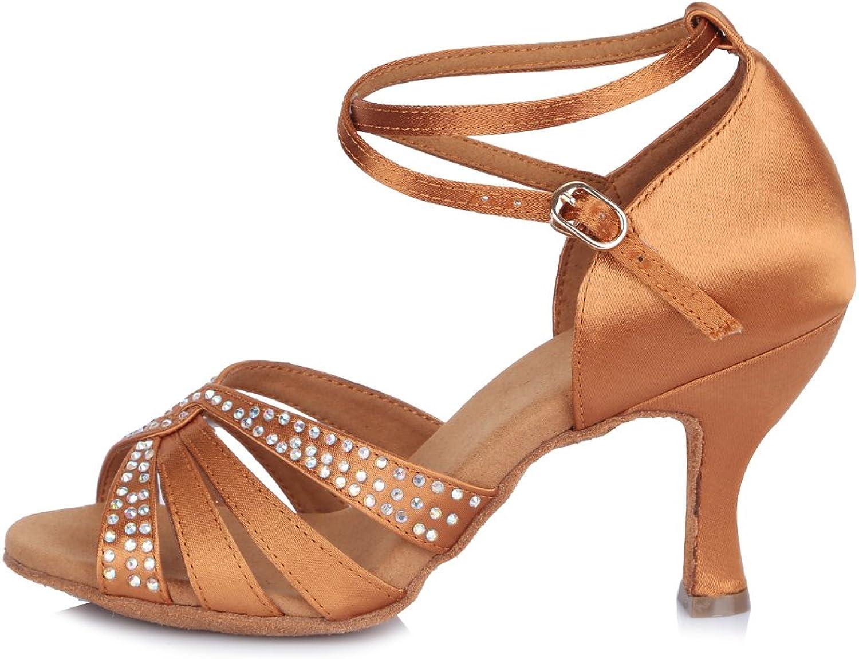 HROYL Women Latin Dance shoes Ballroom Salsa Tango Performance shoes Praticing shoes Satin with Rhinestone Model-409