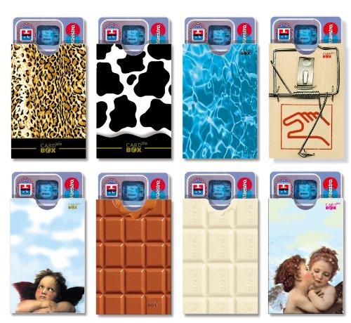 cardbox Set II/Motive: Leo, Kuh, Pool, Mausefalle, Engel, braune und weiße Schoki, Engelpaar / 8er Set /// Originelle Kartenhüllen für ec-Karten, Geschenkkarten, Führerscheine UVM.